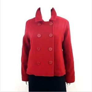 Steve Madden Large Double Breasted Peacoat Red